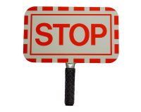 Hand-held reflective STOP sign