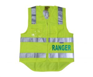 Safety Vest - Fluoro Yellow, Ranger (Green) front & back