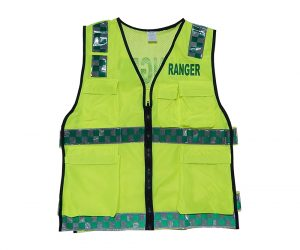 Safety Vest - Utility Style, Fluoro Yellow, Ranger (Green) front & back