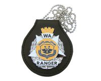Badge Holder - Leather with WA Ranger Metal Badge