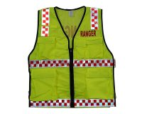 Safety Vest - Utility Style, Fluoro Yellow, Ranger (Red) front & back